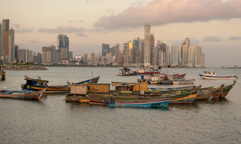 View of Panama City with fishing boats