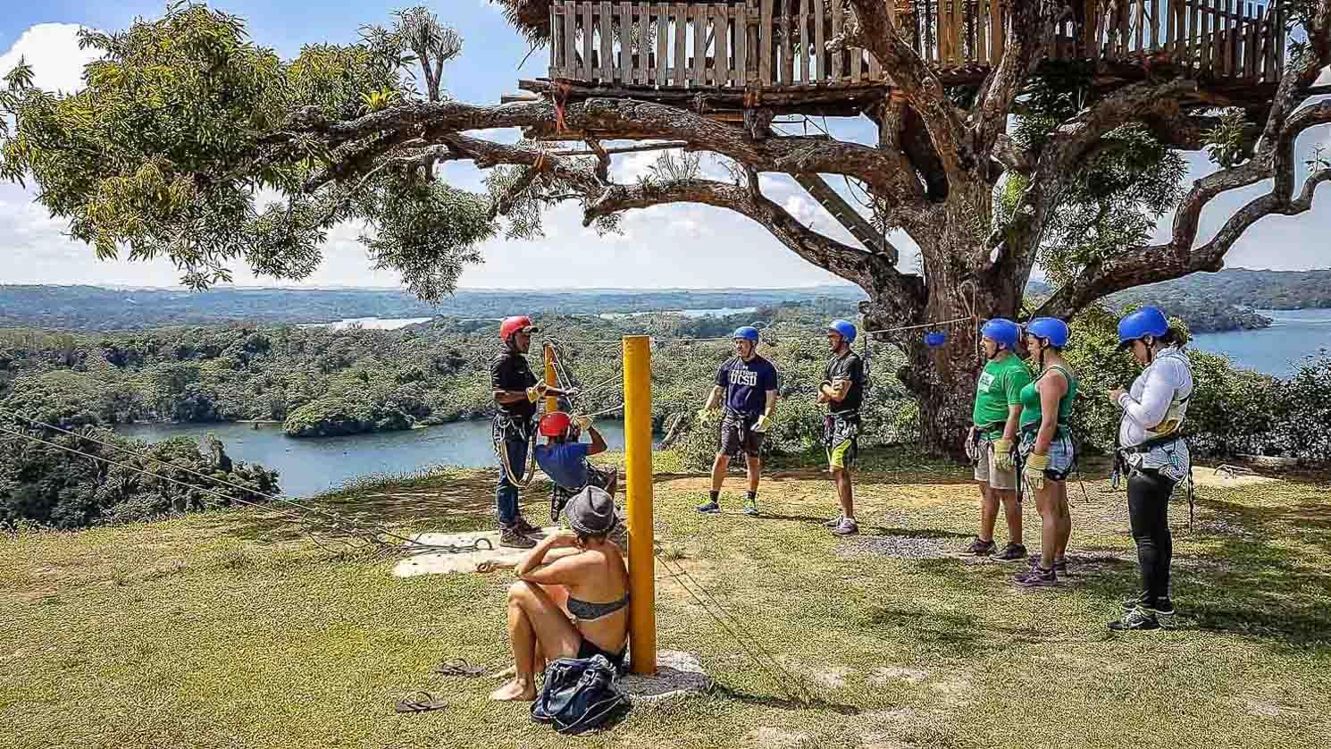 Zip-lining in Panama at Lake Gatun.